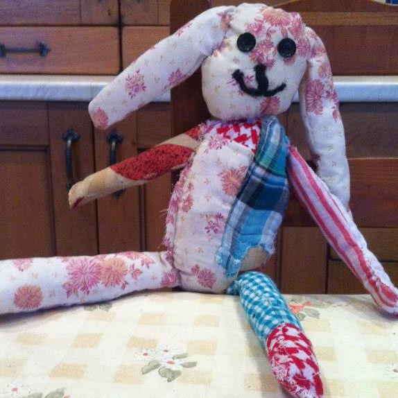 Handmade raggy bunny toy